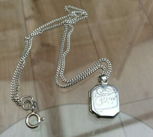 """Silver Locket and 16"""" Silver Chain"""