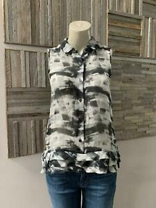 Theory Masida Cubist Plaid Silk Sleeveless Blouse Size Small