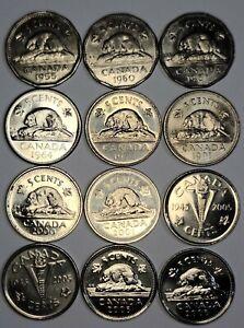 LOT OF 12 CANADIAN 5 CENT NICKELS. 1955 - 2006P ( AU-MS+ ) VARIETIES,  BU...