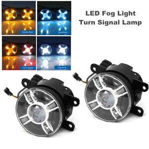 2PCS Front Car LED Projector Lens Round Spot Fog Light w/ Turn Signal Lamp Mode
