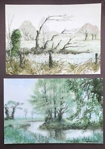 George William Miller (1919-1990) Two (2) Original Signed Watercolour Paintings