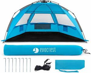 Large Beach Tent Cabana Sun Shelter with UPF 50+ Protection Easy Setup