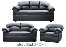 New Black Or Brown Leather 3 2 1 Sofas Suite Couch Settee