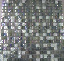 11 X SHEETS OF ARCTIC PEARL GLASS MOSAIC TILES (11 SHEETS = 1 SQ.MTR)