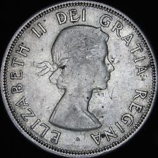 1956 XF+ (AU-) Details Scratched Canada Silver 50 Cents (Half) - KM# 53 - JG