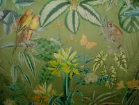 Palma Verde Caribeño Mono Loro Pájaro Tapicería de Cortina Cojín Terciopelo Tela