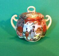 Nippon Satsuma Geisha Sugar Bowl - Hand Painted Red Imari With Moriage - Japan