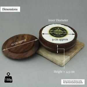 Natural Wooden Shaving Soap Bowl Mug with Lid Cover for Men & Shaving Brush
