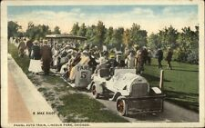 Chicago IL Fadgl Auto Miniature RR Train Ride c1915 Lincoln Park Postcard