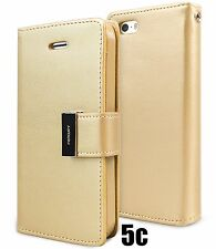 for iPhone 5C - GOLD Leather Case Magnetic Multi Cards Wallet Pouch Folio Cover