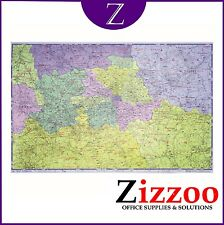 GREATER LONDON POSTCODE WALL MAP (A-Z) LAMINATED AND LARGE 1170 X 910mm