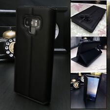 GALAXY NOTE 9 Genuine Low Profile Real Leather Black Folio Book Case Wallet.