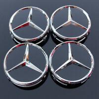 4 X Mercedes Benz 75mm Centre Wheel Caps Alloy Chrome/BLACK AMG/SL/C/E/S/A