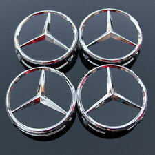4 X Mercedes Benz 75mm Centre Wheel Caps Alloy Chrome/BLACK AMG/SL/C/E/S/A
