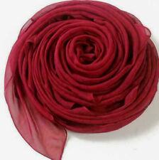 2 pcs Women Ladies Long Chiffon scarf cover wrap 162cm x 70cm Nylon Burgundy Red