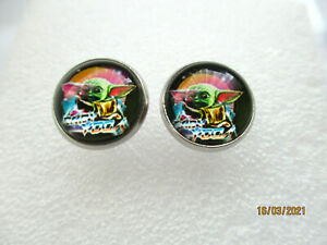 STAINLESS STEEL BABY YODA STAR WARS GLASS CABOCHON STUD EARRINGS 12MM