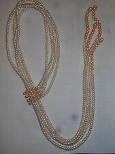 Vintage 4 Strand pink & White Button Pearl Lariat NECKLACE Unused Bridal Mint