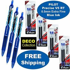 Pilot Precise V5 RT DECO, 3 Pens 4 Packs of Refills, Blue Ink, 0.5mm Extra Fine