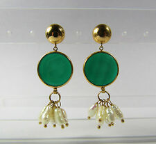 Vintage 1980s 14K 14KT Yellow Gold Green Onyx Intaglio BIWA Pearl Earrings HANA