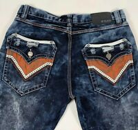 BLACK Men's Premium Bootcut Distressed Stone Wash Jeans Sz 32/34 Flap Pockets