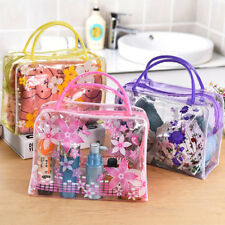 WOMAN CLEAR FLORAL PLASTIC TRAVEL COSMETIC MAKE UP TOILETRY BAG ZIPPER FADDISH