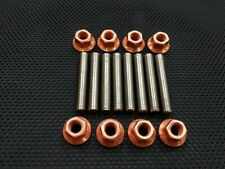 M7 Stainless Steel Exhaust Studs and Copper Flange nuts M7x1 M7x1p M7x1 pitch 8