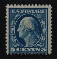 1911 Washington Sc 378  5c blue MHRs OG single  CV $27.50