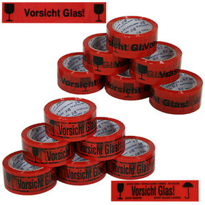 12x Rollen Klebeband Vorsicht Glas Echte 66m Packband Paketband Paketklebeband