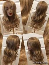 New! Long Golden Blonde Synthetic Wig Size Average Soft Silky Waves Middle Part