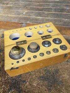 Vintage Set of Brass Apothecary Weights in Wooden Box