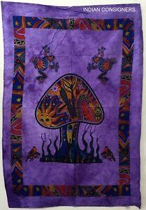 Purple Color Wall Hanging Bedspread Mushroom Frog Design Bohemian Indien Art
