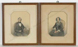"""Hendrik Jakobus Scholten """"Portraits of a married couple"""", two drawings, 1852"""