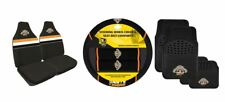 SET OF 3 WEST TIGERS NRL CAR SEAT COVERS + STEERING WHEEL COVER + FLOOR MATS