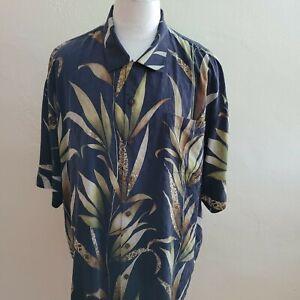 Tommy Bahama Men XXL Back Floral Washed Silk Short Sleeve Hawaiian Shirt