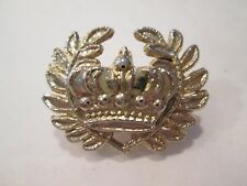 Brooch Pin / Pendant Vintage Gold-tone Crown w/Leaves