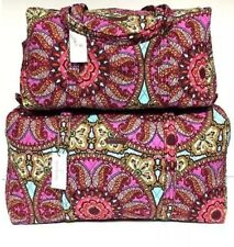 Vera Bradley Resort Medallion Quilted SMALL & LARGE DUFFEL Bag Set Luggage NWT