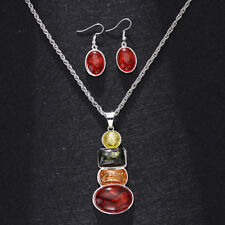 18K VintageRetro Stone Silver Plated Sets Amber Necklace Earrings Wedding Sets