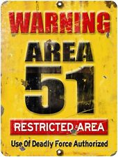 """Vintage Retro Reproduction Area 51 DO NOT ENTER Warning Metal Sign 9""""x12""""    #1"""
