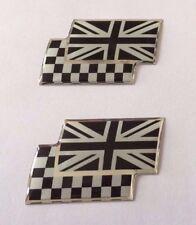 2 X Union Jack/a Scacchi Bandiere Adesivo/Adesivo-Chrome/Nero Lucido a CUPOLA Gel