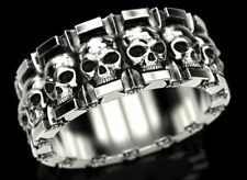 Gothic Skull and Stars Wedding Band Mens Biker Ring In 925 Sterling Silver