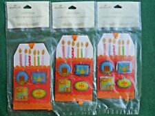 3 HAPPY BIRTHDAY Gift Trim TAG with 4-MAGNETS & RIBBON Hallmark Scrapbooking-MIP