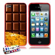 COQUE iPHONE 4 4S LE CHOCOLAT SILICONE ROUGE SOUPLE (TPU)