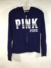 VICTORIA SECRET SWEAT SHIRT SIZE S Small EUC Blue / White VS PINK Hoodie Zip Up
