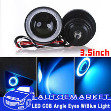 2x 3.5'' Inch 89mm LED Projector Fog Light w/ Blue Angel Eye Halo Ring DRL Lamp