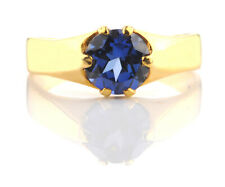 Solid 14KT Yellow Gold Natural Blue Tanzanite 1.50Ct Round Shape Solitaire Ring