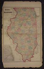 """1873 Gray's Atlas Map of Illinois - 17"""" x 28"""" - Indiana - Missouri"""