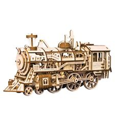 ROBOTIME DIY Locomotive 3D Wooden Puzzle Assemlby Model Toy Gift for Kids Adults