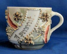 Antique Made In Germany German Luster Mug A Present Blue Orange Gold