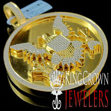 Real Diamond Medallion Seal of President American Eagle Pendant 10K Gold Finish