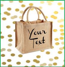 PERSONALISED  JUTE BAG SHOPPER BAG BEACH BAG GIFT YOUR TEXT LARGE SIZE